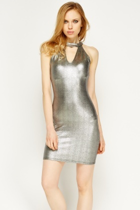Choker Silver Metallic Dress