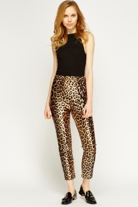 Elasticated Leopard Print Leggings