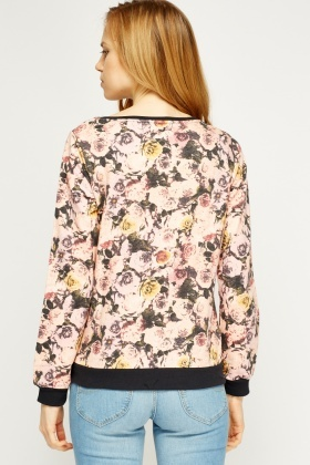 Floral Printed Pink Sweater