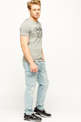 Light Blue Tapered Denim Jeans