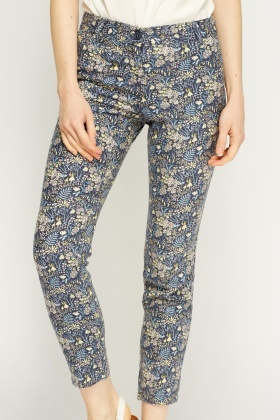 Linen Blend Navy Printed Cropped Trousers