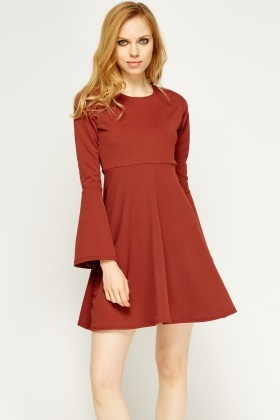 Marron Flared Swing Dress