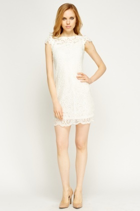 Mesh Overlay Cap Sleeve Dress