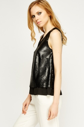Sequin Contrast Hem Top
