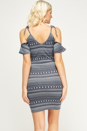 Cold Shoulder Printed Dress