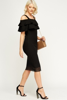 Laser Cut Hem Cold Shoulder Dress