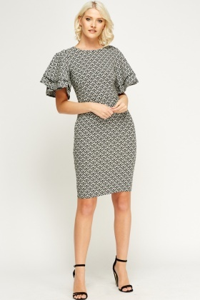 Mono Flare Sleeve Midi Dress