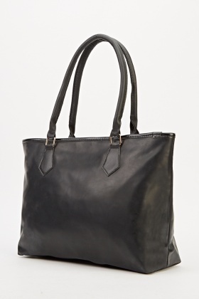 Black Faux Leather Tote Bag