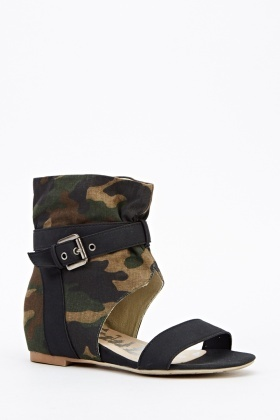 Camouflage Contrast Open Toe Sandals