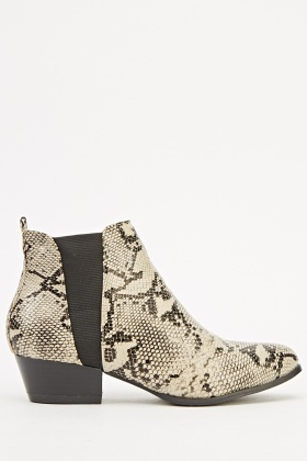 Faux Leather Contrast Ankle Boots