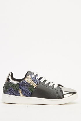 Sequin Contrast Metallic Trainers