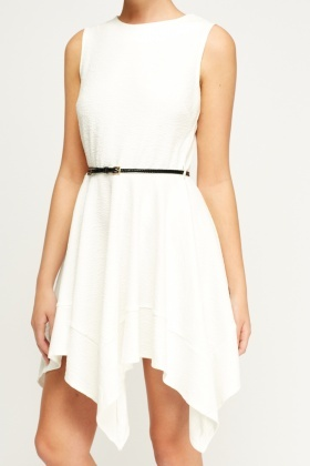 Asymmetric Textured Belted Dress