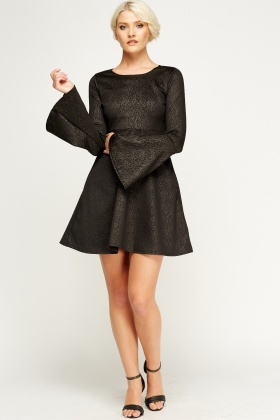 Flare Sleeve Mock Croc Dress