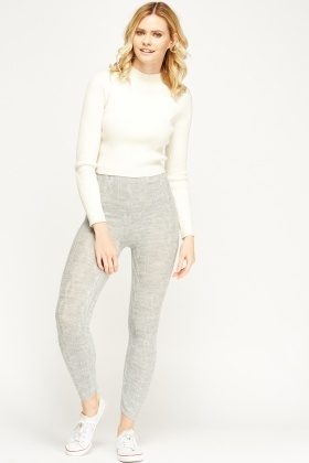 Grey Cable Knit Leggings