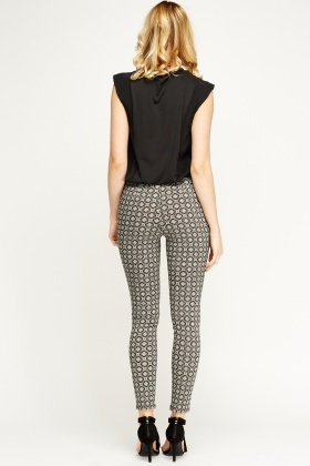 Mono Print Cigarette Trousers