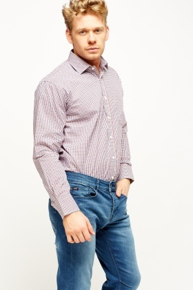 Red Multi Checked Mens Shirt