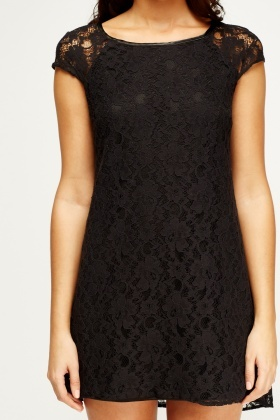 Lace Overlay Cap Sleeve Dress