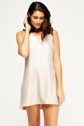 Metallic Pink Shift Dress - Pink/Silver - Just £5