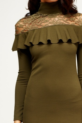 Olive Lace Insert Bodycon Dress