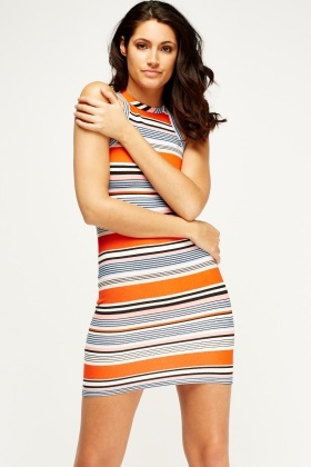 Orange Striped Bodycon Dress