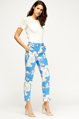 Royal Blue Print Trousers
