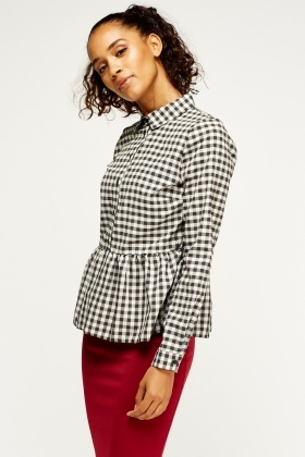 Checked Peplum Shirt