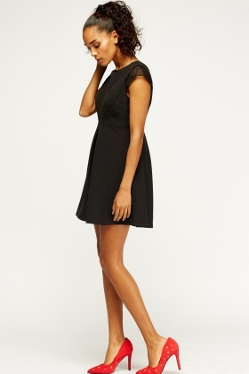 Lace Insert Skater Dress