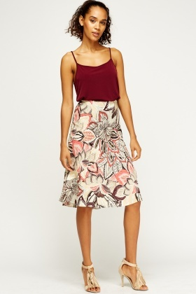 Mix Print Swing Skirt