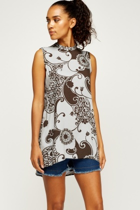 Mixed Print Dip Hem Top