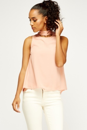 Nude Choker Blouse Top