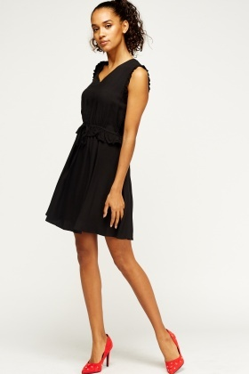 Ruffled Trim Elasticated Dress