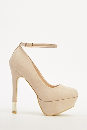 Suedette Ankle Strap Heels