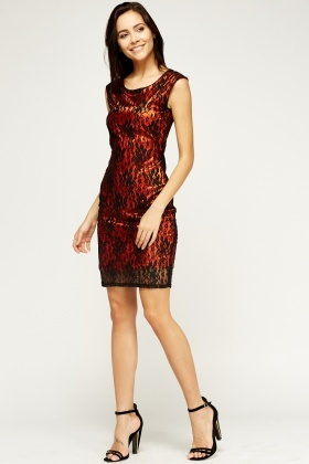 Contrast Mesh Overlay Dress