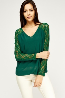 Lace Insert Contrast Blouse