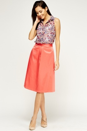 Satin Midi Swing Skirt