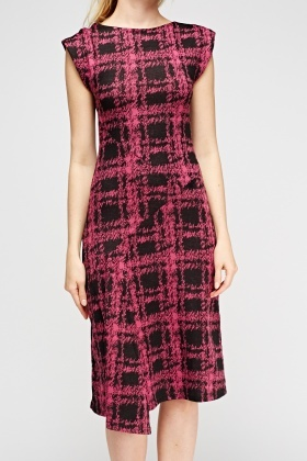 Wrap Hem Printed Midi Dress