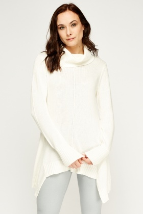 Asymmetric Roll Neck Jumper