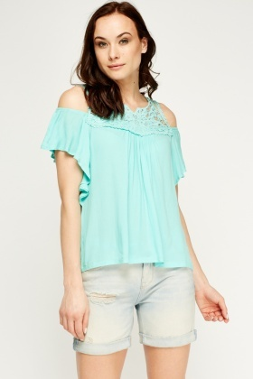 Crochet Trim Cold Shoulder Top