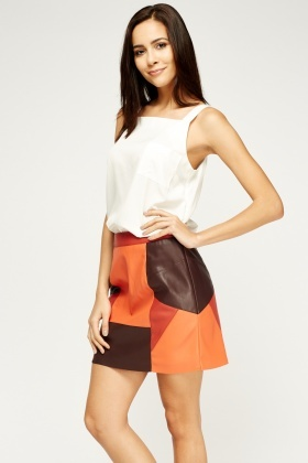 Faux Leather Orange Multi Mini Skirt
