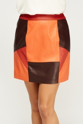 Faux Leather Orange Multi Mini Skirt - Orange/Multi - Just £5