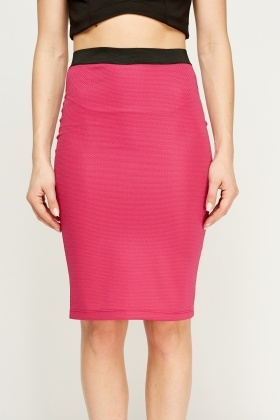 Fuchsia Textured Pencil Skirt