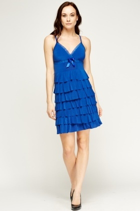 Lace Trim Frilled Dress