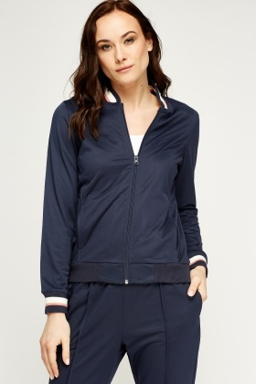 Navy Contrast Trim Jacket