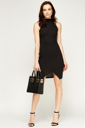 Ribbed High Neck Wrap Dress