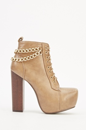 Chained Embellished Heeled Boots