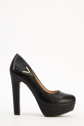 Faux Leather Platform Heels