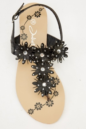 Flower Embellished Sandals