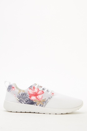 Grey Floral Perforated Trainers