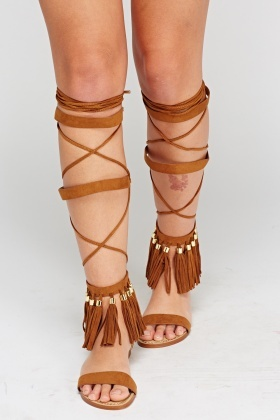 Tie Up Brown Gladiator Sandals