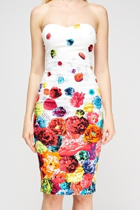 Bandeau Multi Floral Dress